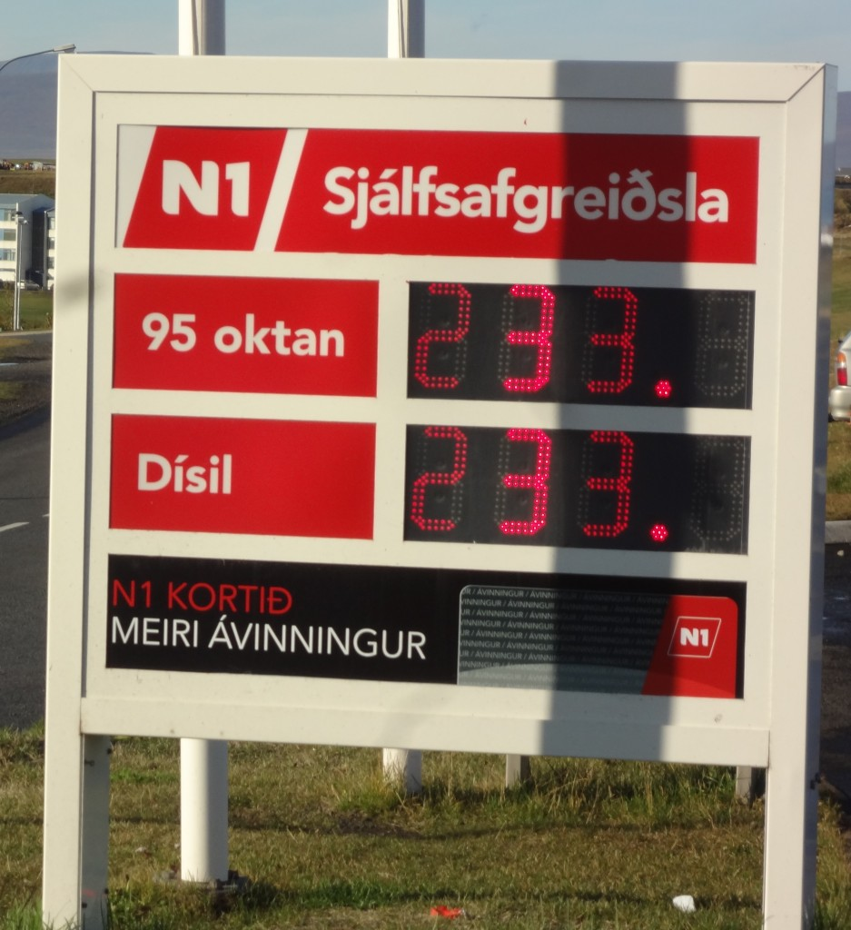 Cost of gas for Ring Road Iceland